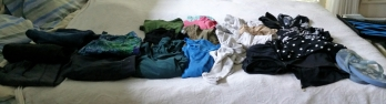 Clothes for Mexico laid out