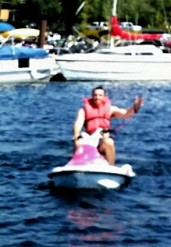 Scott on pink flamingo jet ski